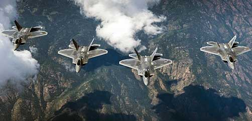 Air Force F-22 Raptor aircraft fly in formation over the Rocky Mountains in Colorado, Aug. 26, 2017, while returning to Joint Base Langley-Eustis, Va. after participating in Red Flag 17-4 at Nellis Air Force Base, Nev. The aircraft are assigned to the 94th Fighter Squadron and the 1st Fighter Wing. Air Force photo by Staff Sgt. Carlin Leslie. - ALLOW IMAGES