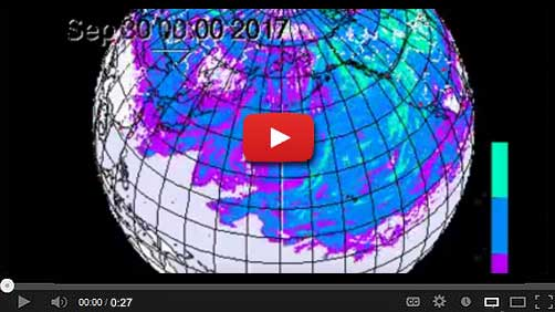 "CTBTO simulation of ""radio-isotope cloud"" from a ""hypothetical atmospheric burst"" over the Pacific."