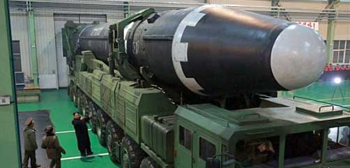 The new Hwasong-15 intercontinental ballistic missile fired this week by North Korea - ALLOW IMAGES