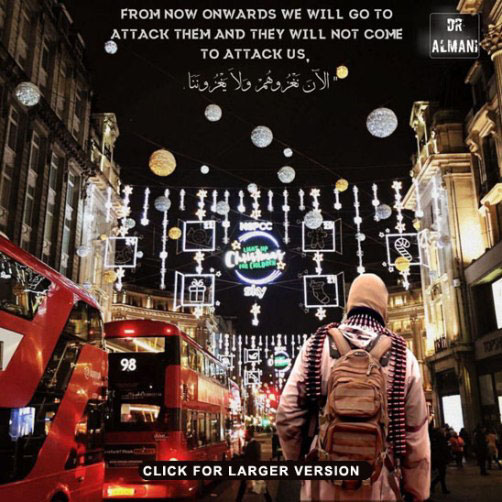 Islamic State Propaganda / Threat poster - London - ALLOW IMAGES