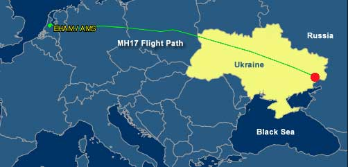 MH-17 Fliht Map - ALLOW IMAGES