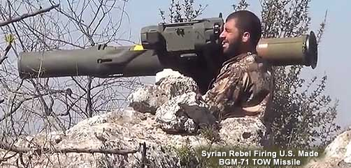 Syrian Rebel Firing Anti-Tank Missile - ALLOW IMAGES