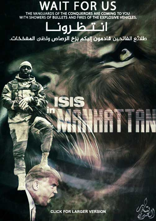Islamic State threat poster for Manhattan - ALLOW IMAGES