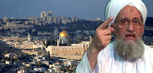 Al Qaeda leader Ayman al-Zawahiri superimposed over view of Jerusalem. - ALLOW IMAGES