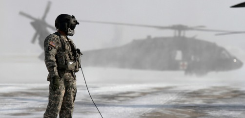 Preflight checks on a UH-60 Black Hawk helicopter, Buckley AFB, Aurora Colorado - ALLOW IMAGES