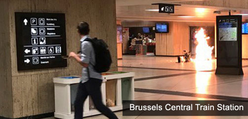 Photograph of Brussels train station explosion - ALLOW IMAGES