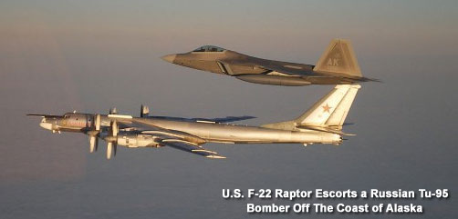 F22 Escorts Russian Bomber - ALLOW IMAGES