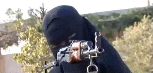 Female Jihadist aiming assault rifle - ALLOW IMAGES