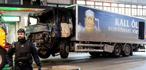 Truck used in Stockholm, Sweden attack - ALLOW IMAGES