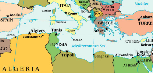 Map of the Mediterranean - ALLOW IMAGES