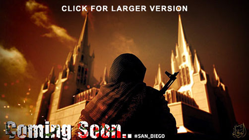 Islamic State Propaganda / Threat poster - San Diego Mormon Temple - ALLOW IMAGES