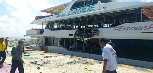 Scene of ferry bombing, Playa del Carmen, Mexco - ALLOW IMAGES