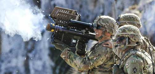 Army Spc. Matthew Williams, a cavalry scout assigned to 2nd Cavalry Regiment, fires a Stinger missile using Man-Portable Air Defense Systems during Artemis Strike, a live fire exercise at the NATO Missile Firing Installation at Crete, Greece, Nov. 6, 2017. Army photo by Sgt. 1st Class Jason Epperson. - ALLOW IMAGES