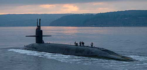 The Ohio-class ballistic missile submarine USS Pennsylvania (SSBN 735) transits the Hood Canal as the boat returns to its homeport at Naval Base Kitsap-Bangor, Wash., following a routine strategic deterrent patrol Dec. 27, 2017. Pennsylvania is one of eight ballistic-missile submarines stationed at the base, providing the most survivable leg of the strategic deterrence triad for the United States. (U.S. Navy photo by Mass Communication Specialist 1st Class Amanda R. Gray) - ALLOW IMAGES