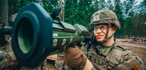 Army 1st Lt. Alex Heeschen operates an AT4 anti-tank rocket during training in Bemowo Piskie, Poland, March 19, 2020. - ALLOW IMAGES