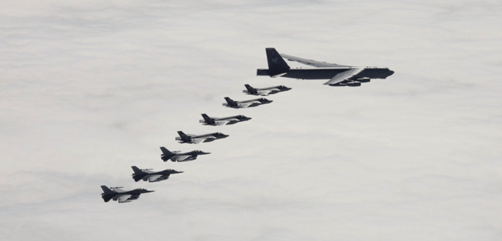 A U.S. Air Force B-52H Stratofortress and Norwegian air force F-16s and F-35s train together during a bomber task mission throughout Europe and the Arctic region, June 3, 2020.  - ALLOW IMAGES