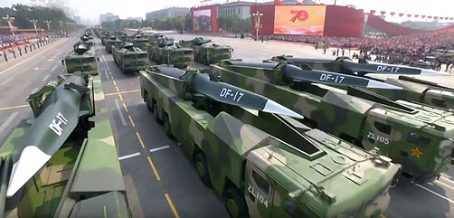 The Dongfeng-17 is a Chinese solid-fuelled road-mobile medium-range ballistic missile that mounts the DF-ZF Hypersonic Glide Vehicle.   - ALLOW IMAGES