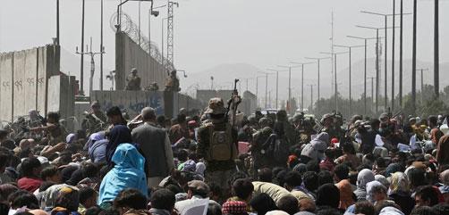 Chaos at Hamid Karzai International Airport, Kabul, Afghanistan, Aug. 18, 2021.  ALLOW IMAGES