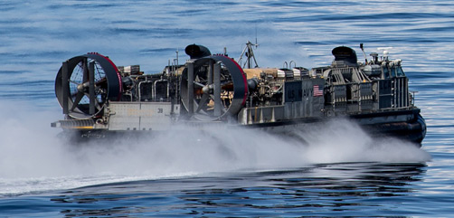 Landing Craft, Air Cushion 39, assigned to Assault Craft Unit 5, maneuvers through the Gulf of Alaska in support of Northern Edge 2021 on May 8, 2021. (U.S. Marine Corps photo by Lance Cpl. Brendan Mullin) - ALLOW IMAGES