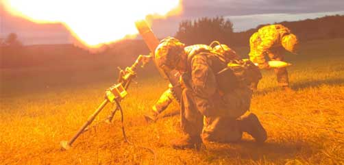 Soldiers fire a M120 120mm mortar system at Fort Drum, N.Y., July 22, 2019. The crews became the first in the state to qualify using the digital Mortar Fire Control System. - ALLOW IMAGES