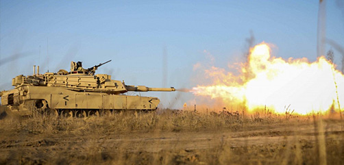 An Army M1 Abrams tank fires during live-fire training at Pabrade Training Area, Lithuania, Dec. 10, 2020. (U.S. Army photo by Sgt. Alexandra Shea)  - ALLOW IMAGES