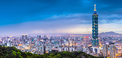 Evening view of Taipei, Taiwan. - ALLOW IMAGES