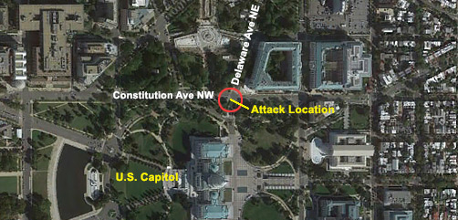 Location of vehicle ramming attack at U.S. Capitol. - ALLOW IMAGES