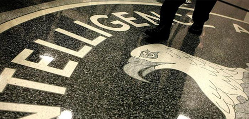 The Central Intelligence Agency (CIA) seal in the lobby of CIA Headquarters in Langley, Virginia. - ALLOW IMAGES