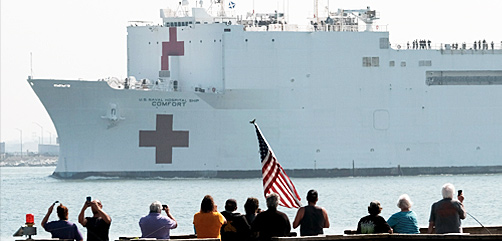 USNS Comfort arrives in New York Harbor, March 31, 2020.