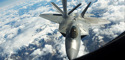 An Air Force F-22 Raptor prepares to receive fuel from a KC-135 Stratotanker during Exercise Red Flag over Alaska, Aug. 5, 2020. - ALLOW IMAGES
