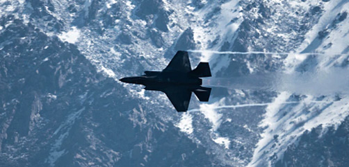 """Air Force Maj. Kristin """"BEO"""" Wolfe flies an F-35A Lightning II during a demonstration rehearsal at Hill Air Force Base, Utah, April 28, 2021. - ALLOW IMAGES"""