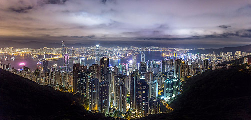Night view of Hong Kong from Victoria Peak.  - ALLOW IMAGES