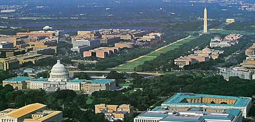 Aerial scene of National Mall, Washington, DC - ALLOW IMAGES