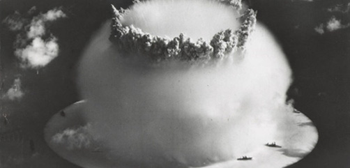 Operation Crossroads in 1946 at Bikini Atoll tested the effects of nuclear weapons on naval fleets and harbors. - ALLOW IMAGES