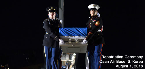 United Nations Command Honor Guard members move cases of remains from one aircraft to another during a repatriation ceremony at Osan Air Base, South Korea, Aug. 1, 2018. The command repatriated 55 cases of remains from North Korea. Air Force photo by Senior Airman Kelsey Tucker - ALLOW IMAGES